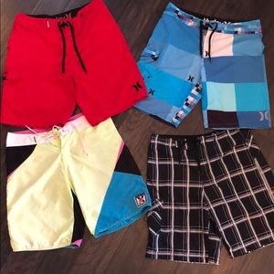Set of 4 board shorts - Hurley and Quicksilver